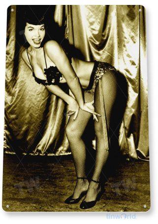 tin sign a725 betty page pose pin-up girl shop garage cave bar tinworld tinsign_com