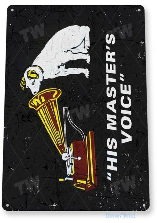 tin sign a727 his master's voice home theater music sign store cave tinworld tinsign_com