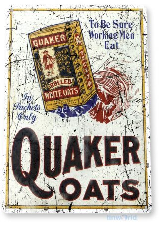 tin sign a732 quaker oats rustic oatmeal sign kitchen cottage cave tinworld tinsign_com