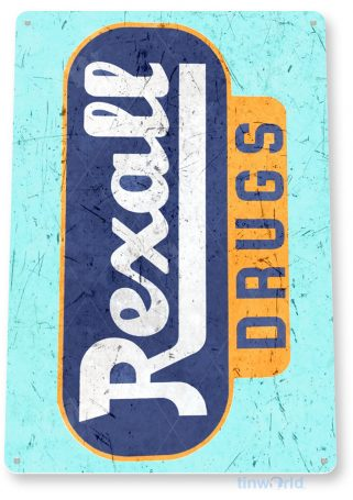 tin sign a737 rexall drugs vintage retro rustic store sign cottage cave tinworld tinsign_com