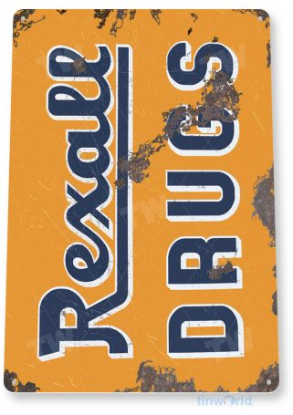 tin sign a738 rexall drugs retro rustic store sign cottage cave tinworld tinsign_com