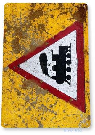 tin sign a745 train warning caution rustic sign rail road street station cave tinworld tinsign_com