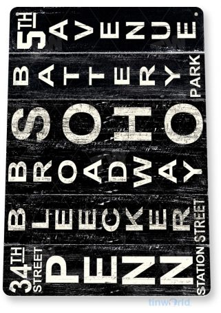 tin sign a777 new york landmarks rustic broadway station park soho 5th ave sign tinworld tinsign_com