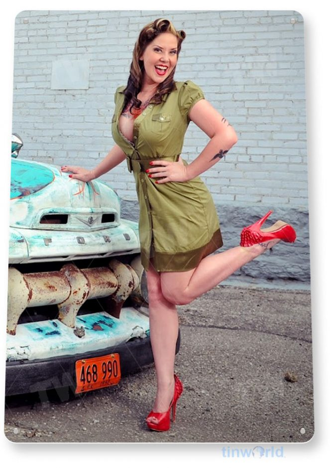 tin sign a788 duty free hot rod pin-up army girl auto shop garage cave tinworld tinsign_com