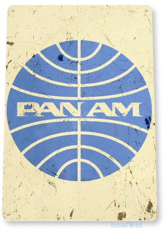 tin sign a790 pan am airlines retro rustic aviation sign hangar garage cave tinworld tinsign_com