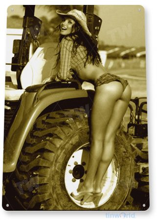 tin sign a795 farm girl pin-up cowgirl tractor shop garage cave tinworld tinsign_com