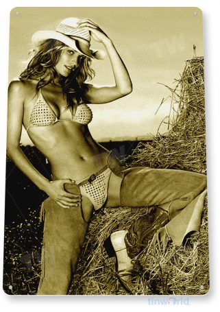 tin sign a803 hay stack pin-up girl cowgirl chaps farm barn cave tinworld tinsign_com