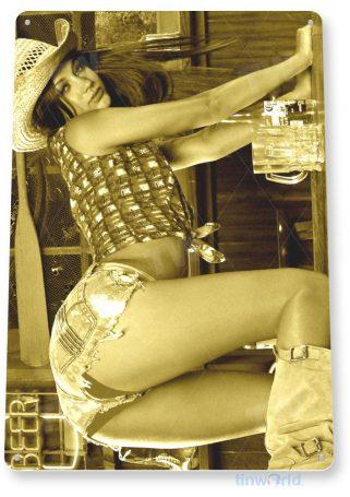 tin sign a806 fallen pin-up girl cowgirl farm bar saloon cave tinworld tinsign_com