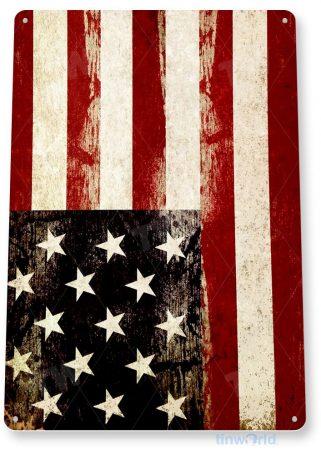 tin sign a812 rustic american flag us rustic patriotic cottage garage shop farm tinworld tinsign_com