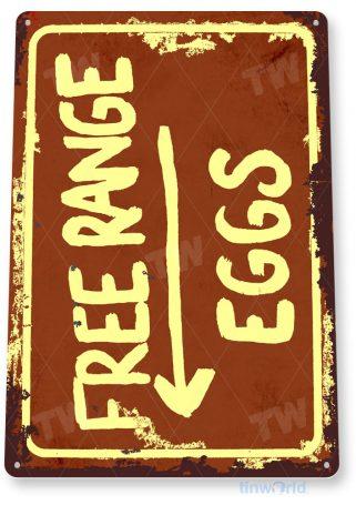 tin sign a821 free range eggs rustic coop sign kitchen cottage farm tinworld tinsign_com