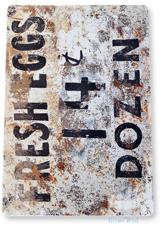 tin sign a824 fresh eggs 14c rustic chicken pen farm coop sign store kitchen cottage farm tinworld tinsign_com
