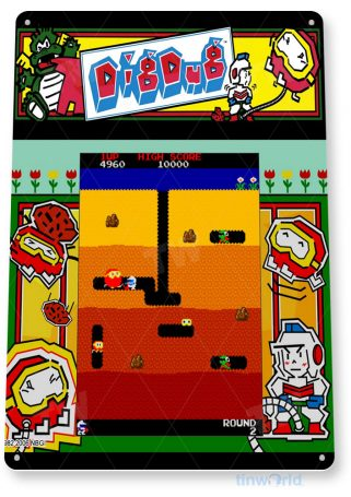 tin sign a835 dig-dug arcade shop game room marquee sign retro console tinworld tinsign_com