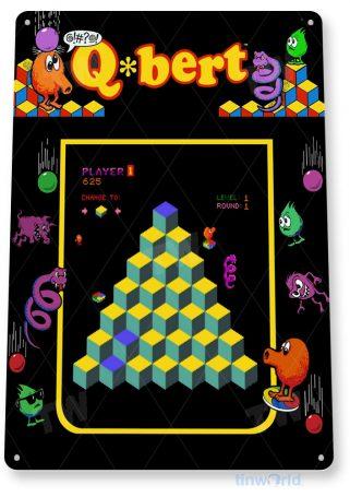 tin sign a838 q-bert arcade shop game room marquee sign retro console tinworld tinsign_com