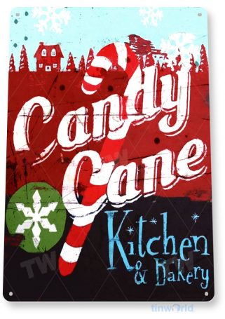 tin sign a869 candy cane rustic christmas holiday sign kitchen cottage farm tinworld tinsign_com