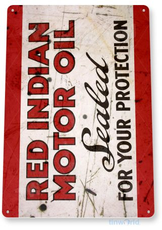 tin sign a880 red indian motor oil rustic retro gas station sign garage auto shop cave tinworld tinsign_com