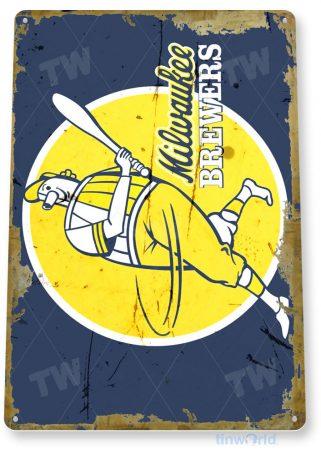 tin sign a911 milwaukee brewers miller park rustic retro baseball sports sign garage bar cave tinworld tinsign_com