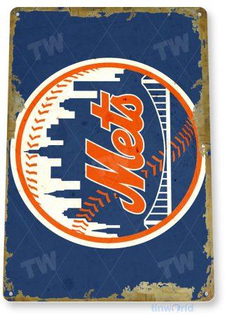 tin sign a913 new york mets rustic retro baseball sports sign garage bar cave tinworld tinsign_com