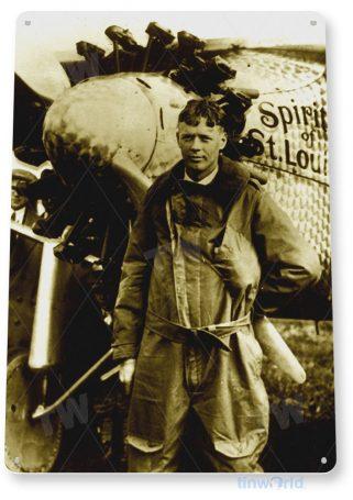 tin sign a924 charles lindberg spirit st. louis aviation pilot historic photo tinworld tinsign_com
