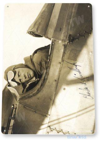tin sign a925 charles lindberg historic aviation photo hangar shop garage tinworld tinsign_com