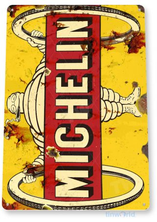 tin sign a938 michelin tires wheels retro tire store sign auto shop garage cave tinworld tinsign_com