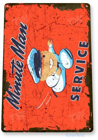 tin sign a940 minute man service rustic retro appliences store sign shop garage tinworld tinsign_com