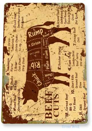 tin sign a979 beef cuts rustic cow sign kitchen cottage farm store tinworld tinsign_com