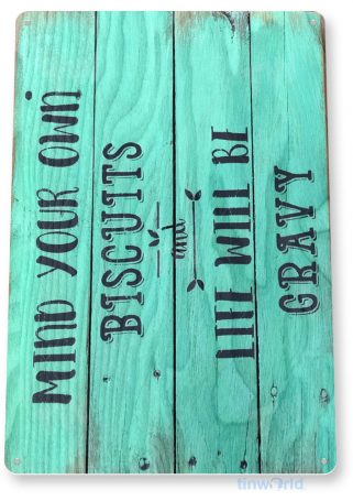 tin sign a981 biscuits gravy rustic breakfast sign kitchen cottage farm store tinworld tinsign_com