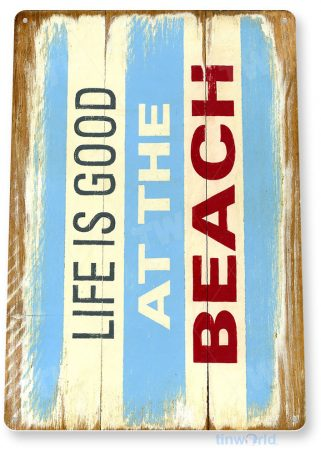 tin sign a992 beach life good rustic beach house sign kitchen cottage cave tinworld tinsign_com