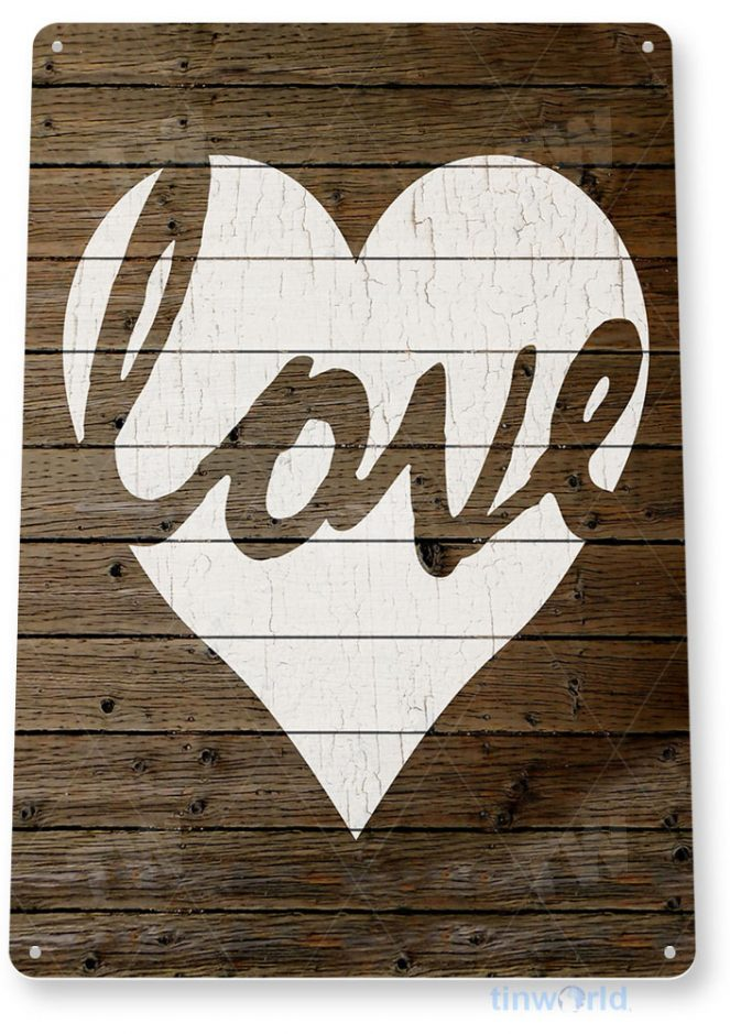 tin sign a995 love white heart rustic valentines sign kitchen cottage farm tinworld tinsign_com