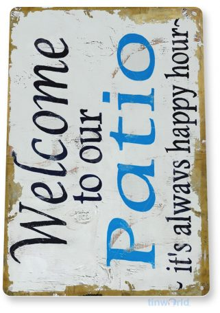 tin sign b010 welcome to patio rustic beach house sign cottage cave tinworld tinsign_com