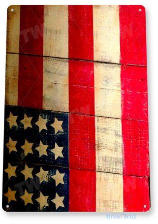 tin sign b015 american flag rustic patriotic us cottage cave tinworld tinsign_com