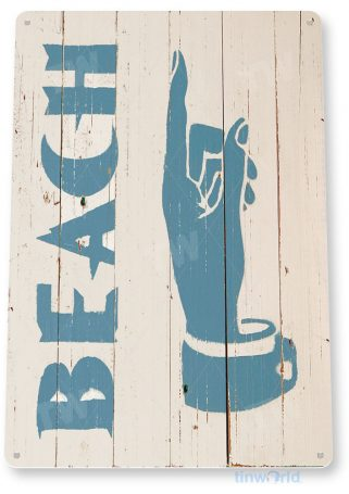 tin sign b021 beach this way rustic beach house sign cottage cave tinworld tinsign_com