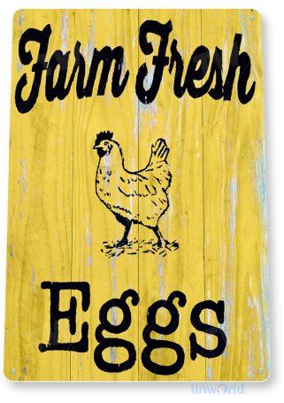 tin sign b042 farm fresh eggs rustic coop sign kitchen cottage farm tinworld tinsign_com