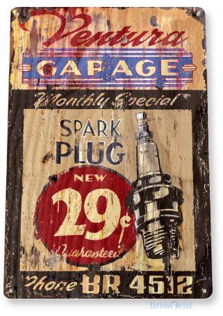 tin sign b057 ventura garage retro spark plugs garage sign auto shop cave tinworld tinsign_com