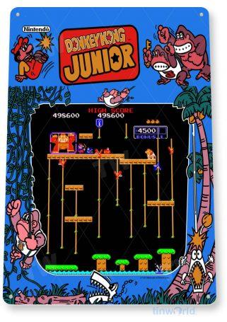 tin sign b066 donkey kong junior arcade shop game room marquee sign retro console tinworld tinsign_com