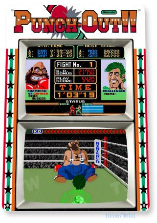 tin sign b069 punch out arcade shop game room store marquee sign retro console tinworld tinsign_com