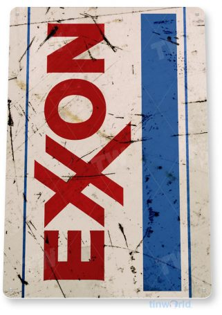 tin sign b071 exxon aged rustic oil gas station sign auto shop garage cave tinworld tinsign_com