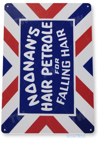 tin sign b073 noonan's hair petrole retro barber shop sign cottage cave tinworld tinsign_com