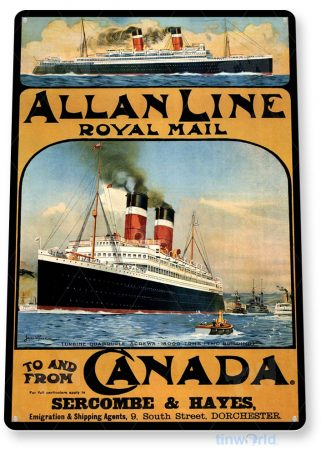 tin sign b102 allan line royal mail retro post office cruise ship sign tinworld tinsign_com
