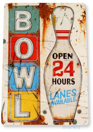 tin sign b117 bowl rustic retro bowling alley pin sign cottage bar cave tinworld tinsign_com