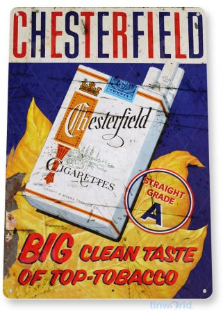 tin sign b122 chesterfield cigarettes retro rustic smoke shop store sign tinworld tinsign_com