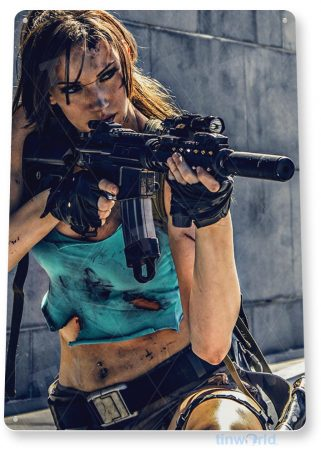 tin sign b130 deadly diva guns pin-up girl swat police military tinworld tinsign_com