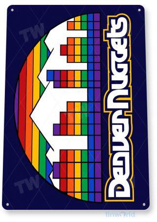 tin sign b134 denver nuggets retro basketball sports sign bar pub cave tinworld tinsign_com