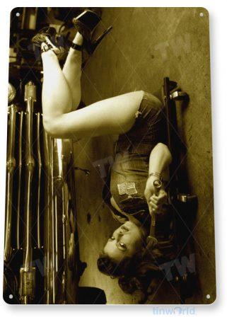 tin sign b137 down under hot rod pin-up girl garage auto shop cave tinworld tinsign_com