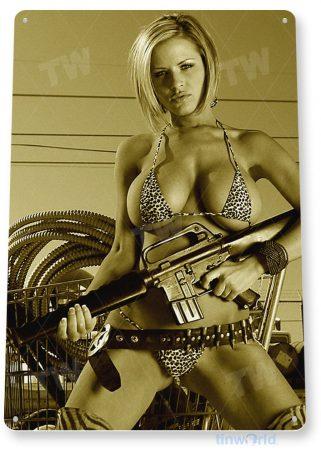 tin sign b154 armed & dangerous guns pin-up girl swat police military tinworld tinsign_com