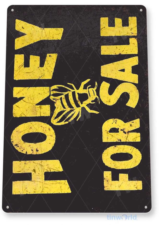 tin sign b157 honey for sale rustic bee honey sign kitchen cottage farm tinworld tinsign_com