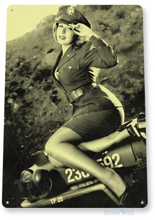 tin sign b163 jeepers retro military pin-up girl barracks cave tinworld tinsign_com