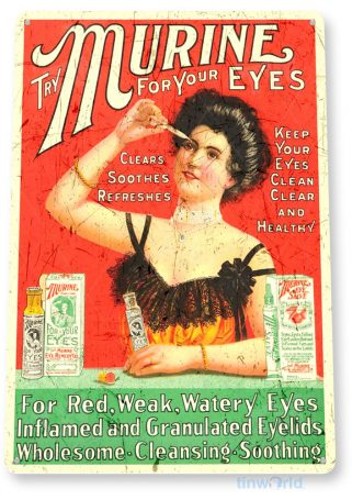 tin sign b181 murine eye drops retro rustic advertisement sign cottage cave tinworld tinsign_com