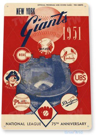 tin sign b184 new york giants retro baseball program sports bar cave tinworld tinsign_com