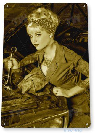 tin sign b192 pick-up hot rod pin-up girl garage auto shop cave tinworld tinsign_com
